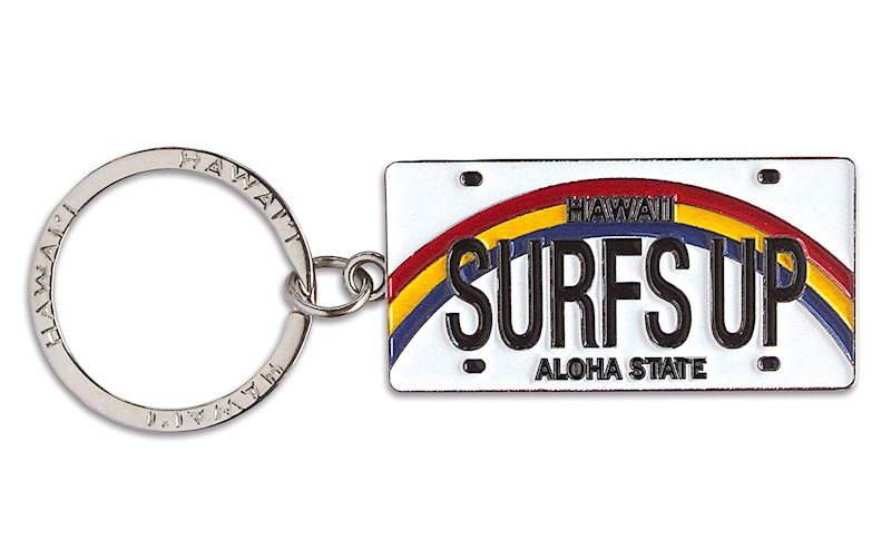 Hawaii With Hearts Black Metal License Plate Frame Tag Holder