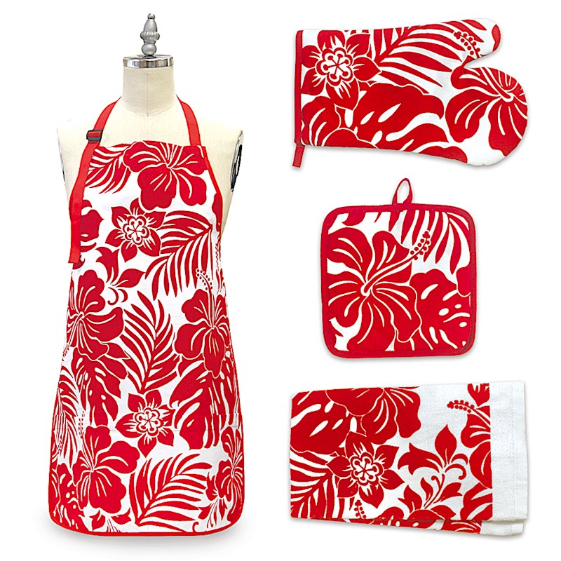 Hibiscus Floral Red Kitchen Accessories Gift Set Welcome To The Islands
