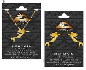 EARRING & NECKLACE SET, CHARM MERMAID GOLD