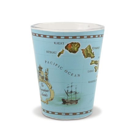Short Shot Glass, Islands of Hawaii Blue