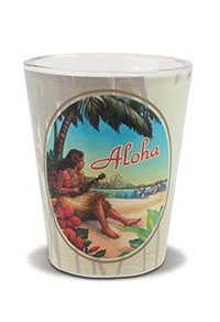 Short OPP Shot Glass, Vintage Hawaii