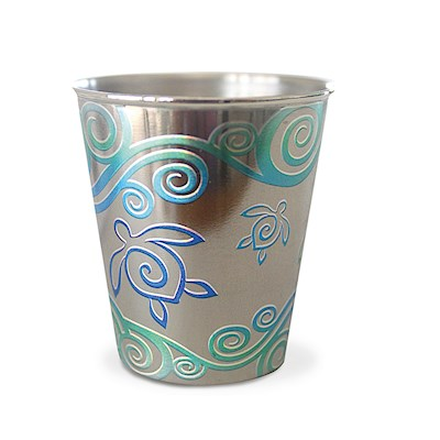 Stainless Steel Foil Shot Glass, Honu Swirl