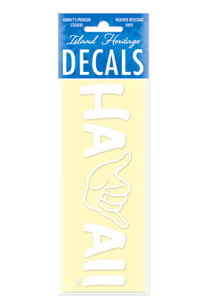 Decal Sticker Shaka Hawaii White Small Banner