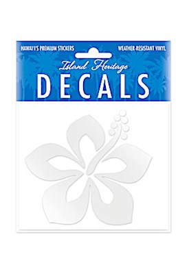 Decal Small Oblong, Graphic Hibiscus Silver