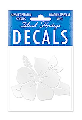 Decal Sticker Single Hibiscus Square - SILVER
