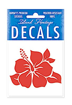Decal Sticker Single Hibiscus Square - RED