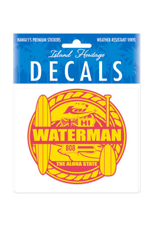 Decal Sticker Waterman Red & Yellow Small Rectangular