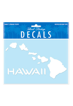 Decal Large Oblong, Hawaiian Islands White