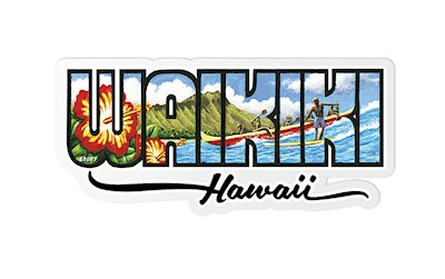 Decal Sticker Waikiki - Hawaiʻi by Eddy Y