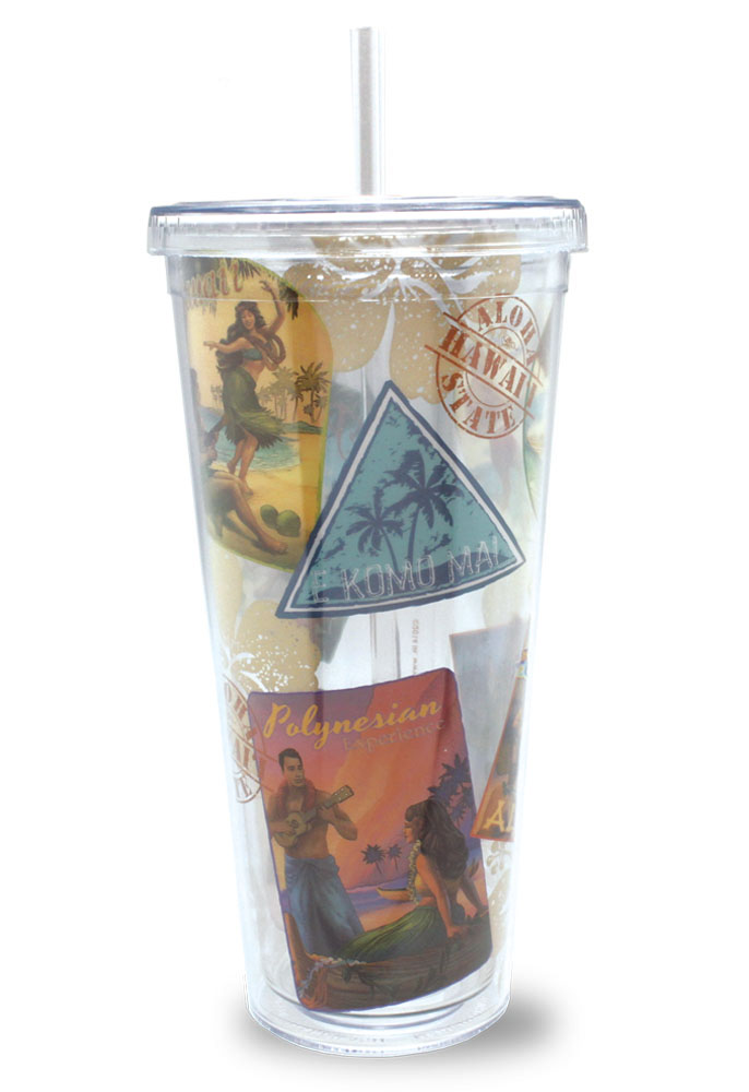 24 oz. Travel Tumbler with Straw, Nostalgic Hawaii