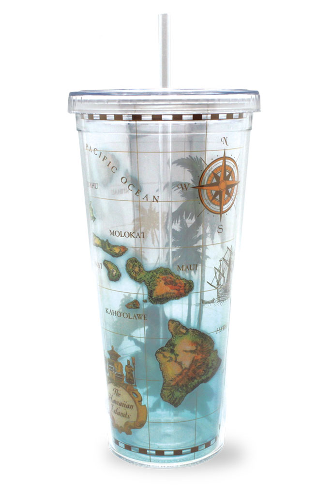 24 oz. Travel Tumbler with Straw, Hawaii Map