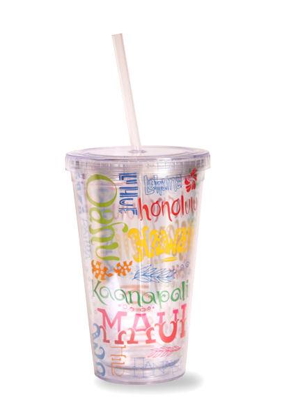 Travel Tumbler with  Straw Island Doodles