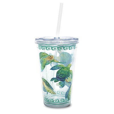 16 oz. Travel Tumbler with Straw, Swimming Honu