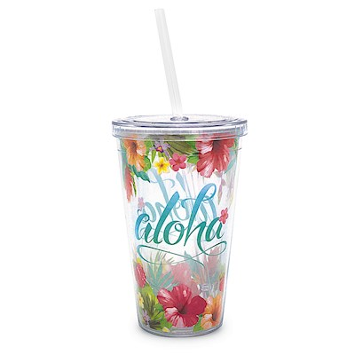 16 oz. Travel Tumbler with Straw, Aloha Floral