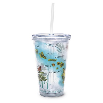 16 oz. Travel Tumbler with Straw, Map