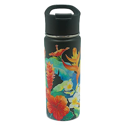 18.6 oz. Island Flask,- Island Garden - Black -