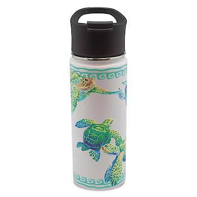 Island Flask Tumbler, Swimming Honu - White