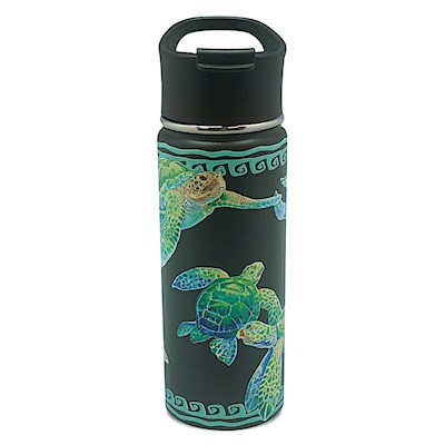 Island Flask Tumbler, Swimming Honu - Black