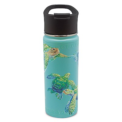 Island Flask Tumbler, Swimming Honu - Teal