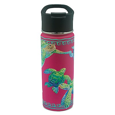 Island Flask Tumbler, Swimming Honu - Pink