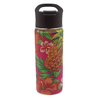 18.6 oz. Island Flask,- Tropical Pineapple - Pink -