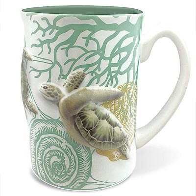 Hawaiiana Embossed Mug 14 oz. Honu Voyage