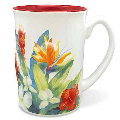 Hawaiiana Embossed Mug 14 oz. Tropical Garden