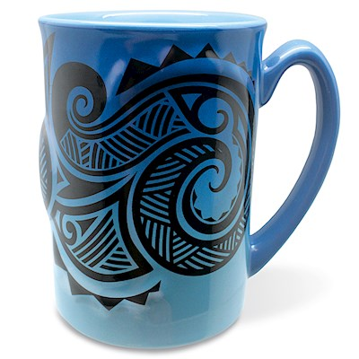 Hawaiiana Embossed Mug 14 oz. Tribal Blue
