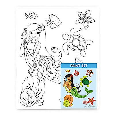 Canvas & Paint Set, Island Hula Mermaids
