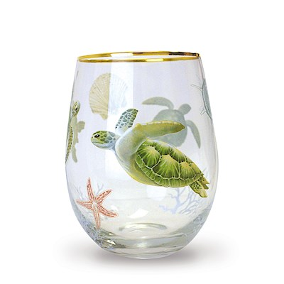 Coastal Glassware Honu Voyage Stemless Wine Glass
