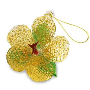 Glass Lace Ornament, Hibiscus - Yellow