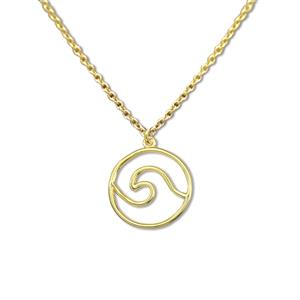 Charm Necklace, Wave - Gold