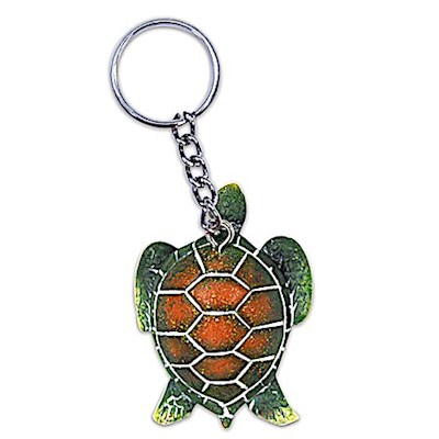 Hand-Painted Polyresin Keychain, Honu