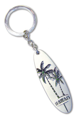 Pewter Keychain Tandem Palms