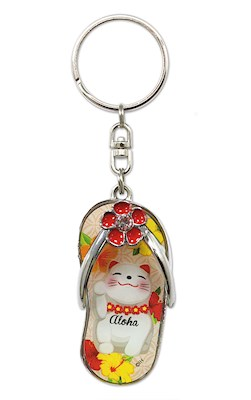 Metal Slipper Keychain, Aloha Lucky Cat