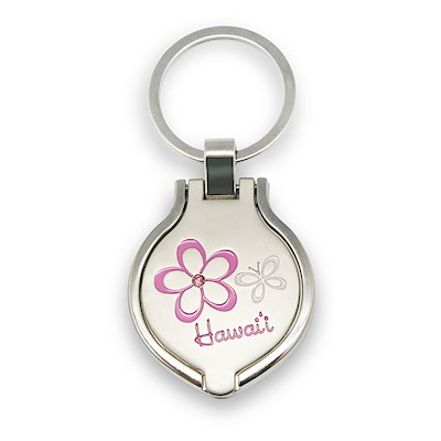Metal Photo Frame Keychain, Pink Plumeria - Hawaii