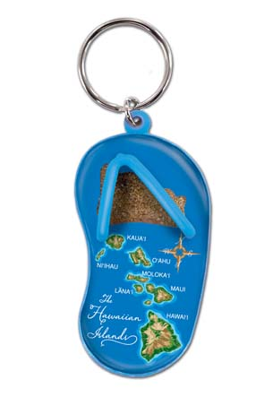Die Cut Sand Slipper  Hawaii Map - Blue
