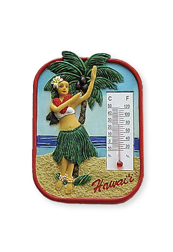 HP Polyresin Thermometer Magnet, Hula Palm
