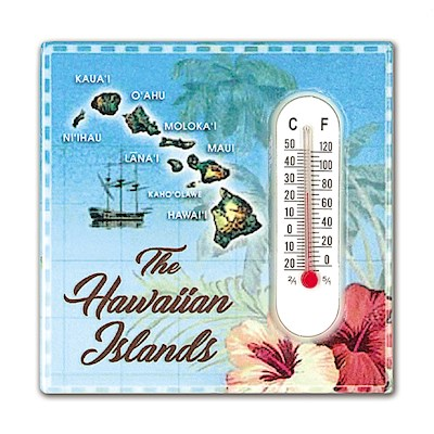 Ceramic Thermometer Magnet, Hawaiian Islands - Blue