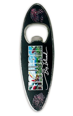 Bottle Opener Foil Embossed Magnet, Surfboard - Eddy Y - Hawaii Big Island *