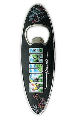 Bottle Opener Foil Embossed Magnet, Surfboard - Eddy Y - Kauai Hawaii *