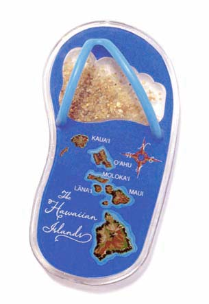 Acrylic Beach Slipper Magnet Hawaii Map - Blue
