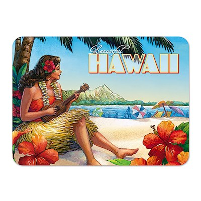 Die-Cut Tin Picture Magnet - Vintage Hawaii