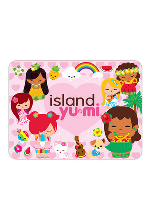 Die-Cut Tin Picture Magnet, Island Yumi - Pink (Giltter)