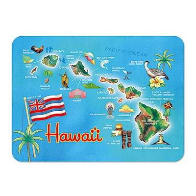 Die-Cut Tin Picture Magnet Highlights of Hawaii