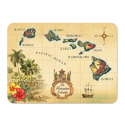 Die-Cut Tin Picture Magnet, Islands of Hawaii - Tan