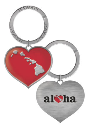 Metal Keychain, Heart of Hawaii (Heart)