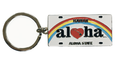 Metal License Plate Keychain, Heart of Hawaii - Aloha