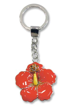 Metal Bling Keychain, Hibiscus
