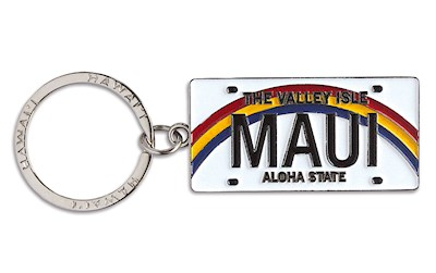 Metal License Plate Keychain Maui